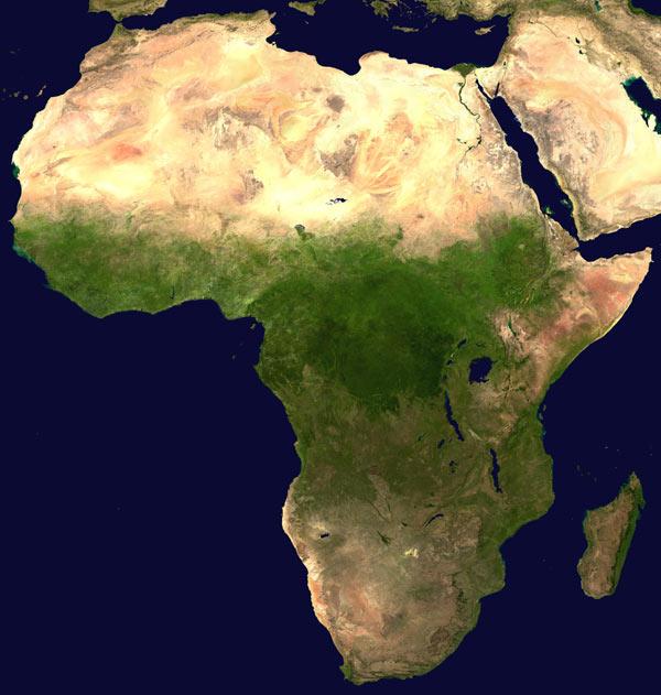 Afrika Karte Luftbild Satellitenbild