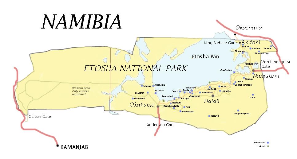 Etosha Karte Namibia Landkarte
