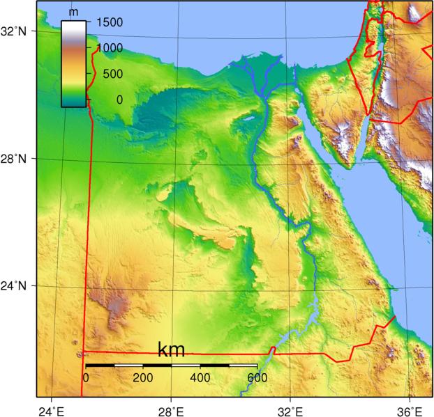 Karte ägypten Nil.Topographie Landkarte Gypten