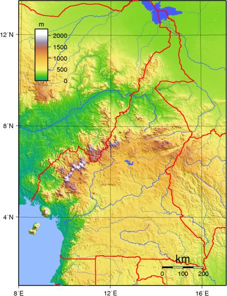 ghana mapa relieve: