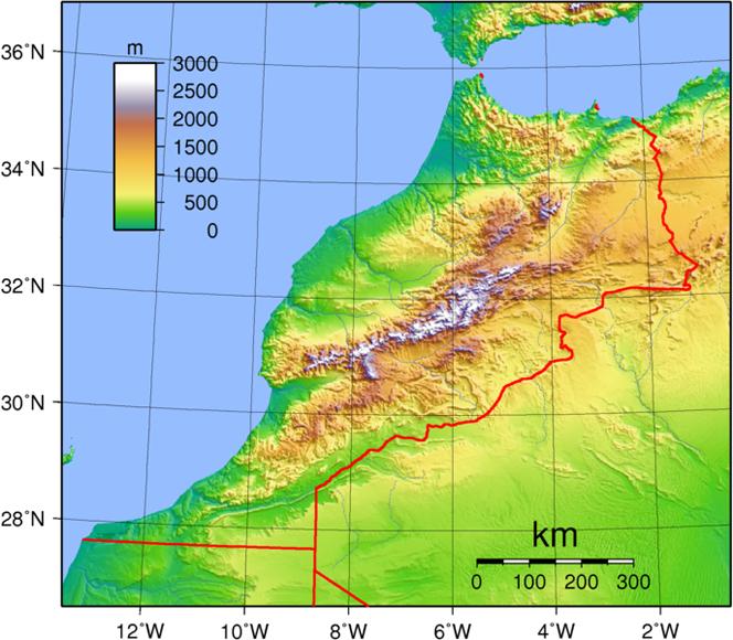 Landkarte Topographie Marokko