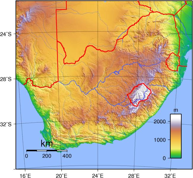 Südafrika Karte.S Dafrika Landkarte Topographie