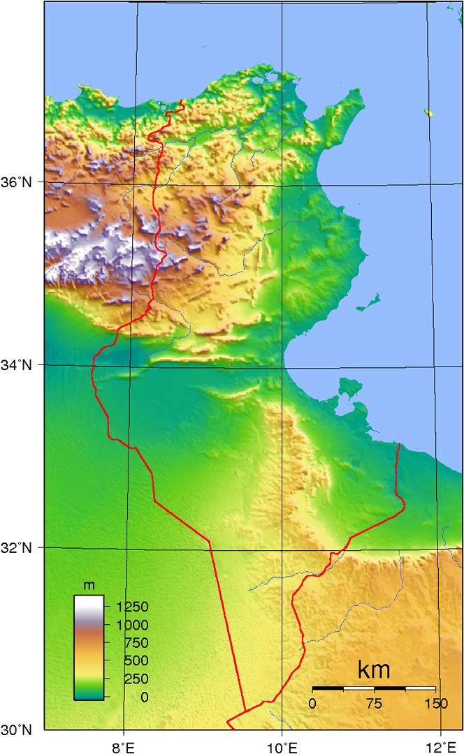 Tunesien Karte.Tunesien Landkarte Topographie