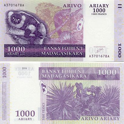 Banknoten Madagaskar